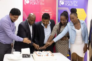 Vishal Sharma, Vice President of Operations, Fertility Point, Dr Kireki Omanwa, President, Kenya Obstetrical and Gynaecological Society, Dr Rajesh Chaudhary, Lead IVF Expert at Fertility Point, Dr Faith Muchira, Lead Physician at Fertility Point and a staff member.(photo;cortesy)